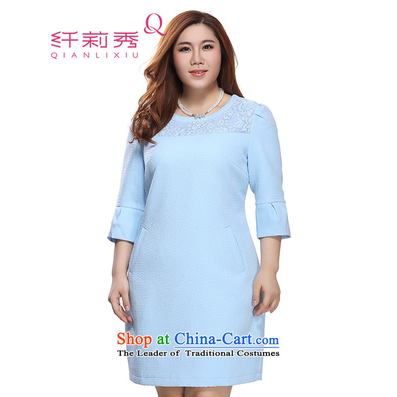 The former Yugoslavia Li Sau 2015 autumn large new mount female round-neck collar lace stitching of 7 to increase the cuff dresses 0171 light pink blue 4XL