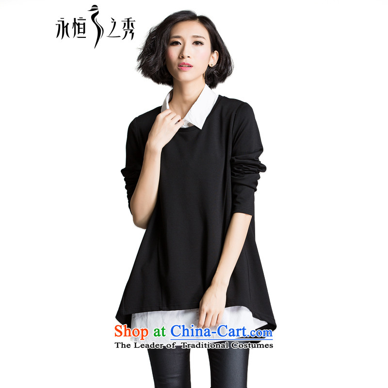 The Eternal Soo-XL WOMEN FALL 2015 NEW SHIRT thick mm thick people fall sister graphics thin stylish really two kits black and white shirt black temperament聽3XL