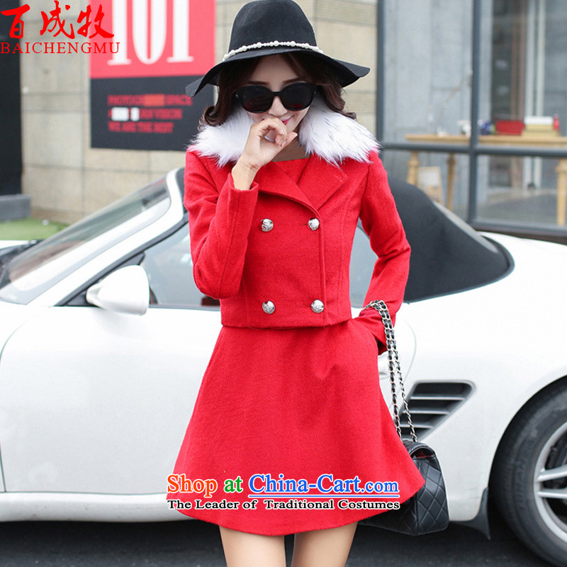 The 2015 Korea Pak Shing wool coat is version _ _ Gross girls jacket? long red autumn and winter, L