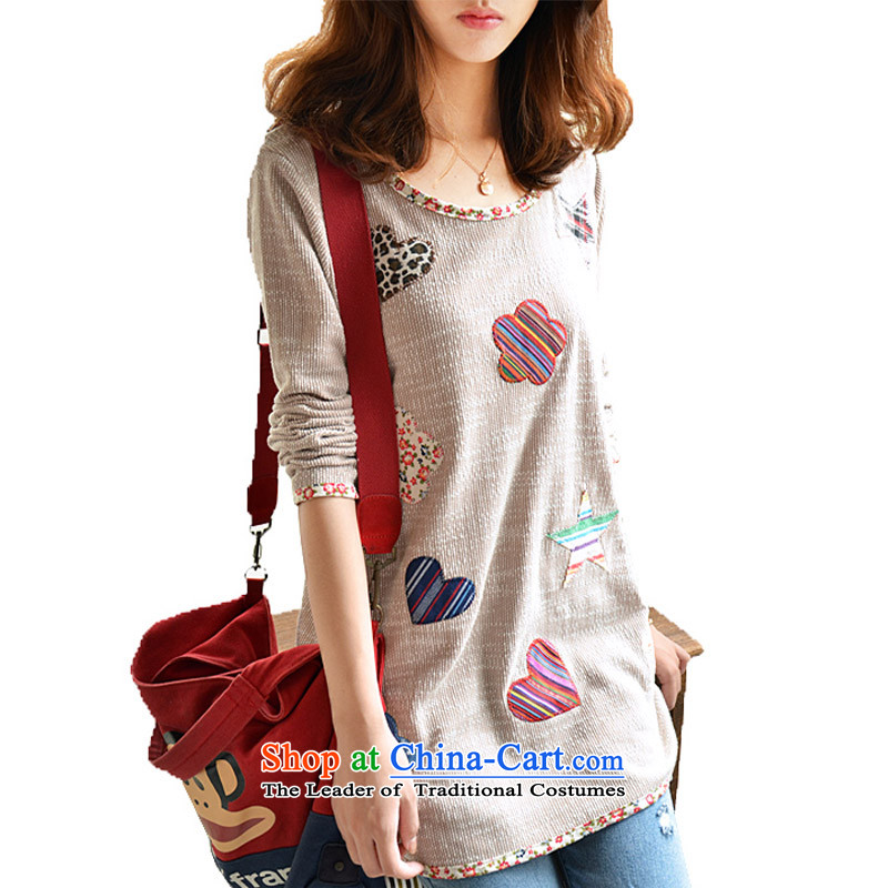 Create the 2015 autumn billion new Korean version of large numbers of ladies thick mm small fresh floral cloth package forming the edge of the overlay in the Netherlands long T-shirt map colorXL