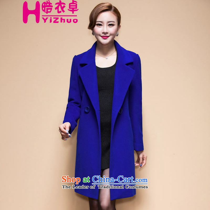 鏅� Yi Cheuk-yan聽2015 autumn and winter new genuine Korean cashmere overcoat, long suit a jacket girls wool blue聽L