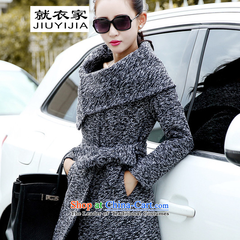 On a  2015 autumn and winter clothing new gross? female Korean jacket coat girl in gross? Long a wool coat ma gray XL