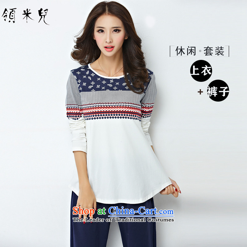 For M- 2015 to increase the number of women in the autumn of new ethnic leisure wears thick mm stamp long-sleeved T-shirt + pants and two piece 1278 Blue 4XL
