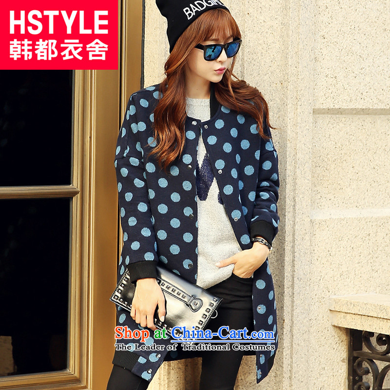 Korea has the Korean version of the Dag Hammarskjöld yi 2015 winter clothing new products with stylish blue loose video thin waves point stamp neck long hair RW4493 restaurant blue jacket? S