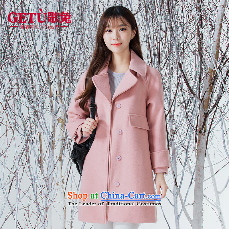 Song rabbit hair girl in the jacket? Long 2015 Fall_Winter Collections of leisure new women's small-wind wool a wool coat pink燤
