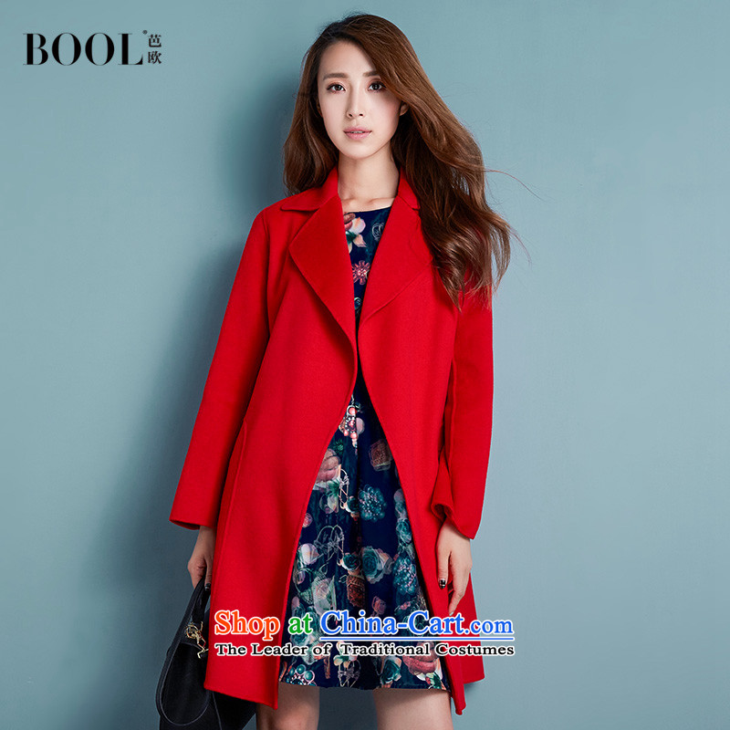 Barbara Euro 2015 autumn the new President won version plain manual gross coats that long double-sided?? woolen coat opium poppy red燬