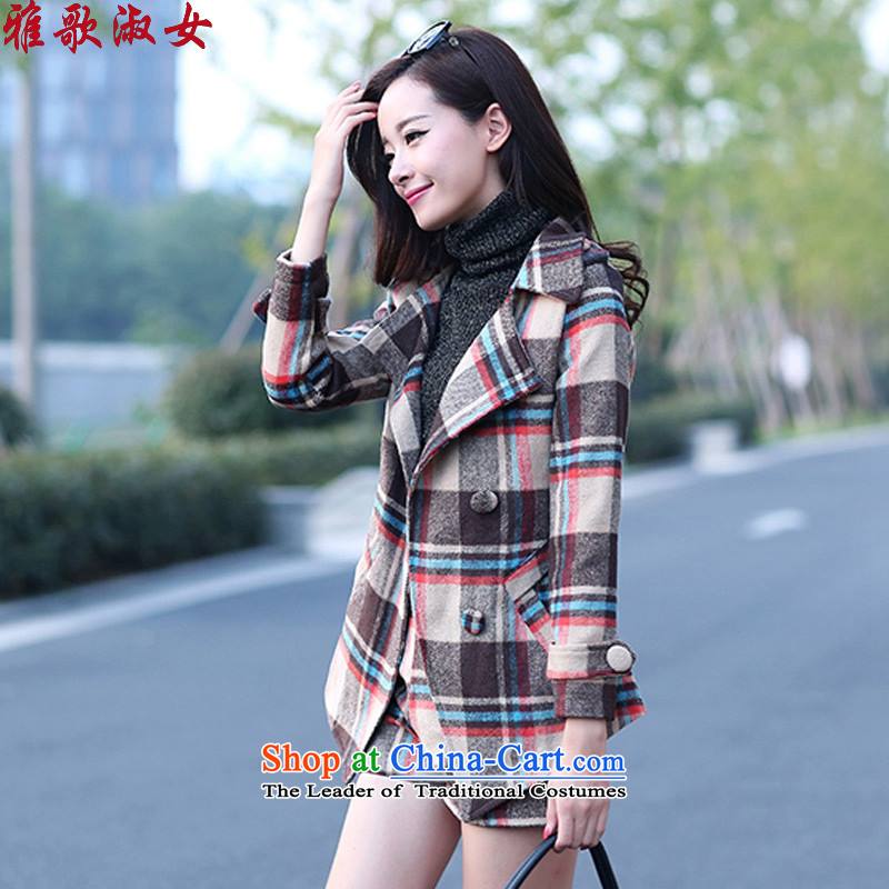 Song Gentlewoman聽2015 autumn and winter new Korean latticed two kits a coat of Sau San video aristocratic thin small Heung-long-sleeved shirt pants and casual stylish and color聽 L gross?