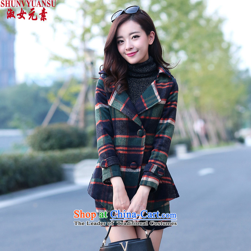 Lady element�15 autumn and winter new Korean latticed two kits a coat of Sau San video long-sleeved shirt thin pants and casual stylish coat Kit? gross female blue燲L