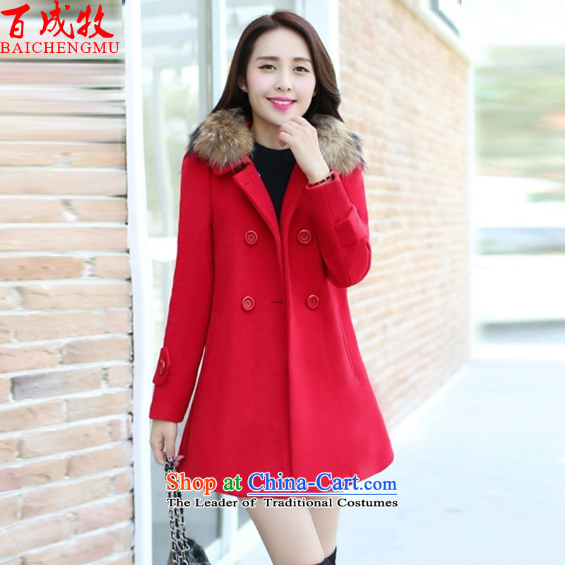 Pak Shing The 2015 autumn and winter new women's Korea version of large numbers in length of Sau San for coats jacket and women? red L