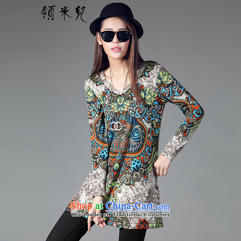 For M-?2015 XL women with new expertise autumn mm thin ethnic stamp graphics wild in long long-sleeved T-shirt, forming the Netherlands W2076 suit?XXL