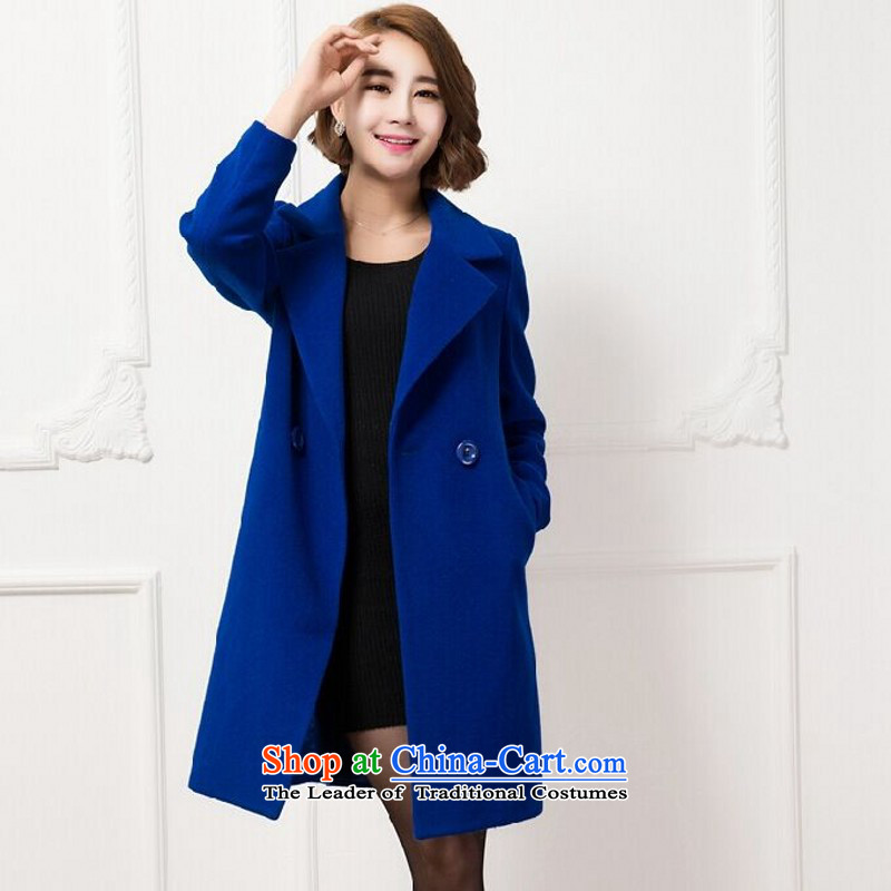 Chyian Road 2015 autumn and winter new Korean cashmere overcoat, long suit wool a female blue�L Jacket
