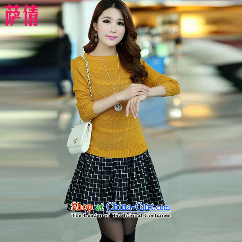 Mr. Qian 2015 autumn and winter new larger female thick MM video thin false two wild sweater, forming the dresses W1622 yellow. Suitable for 150 - 170 catties XXL catty