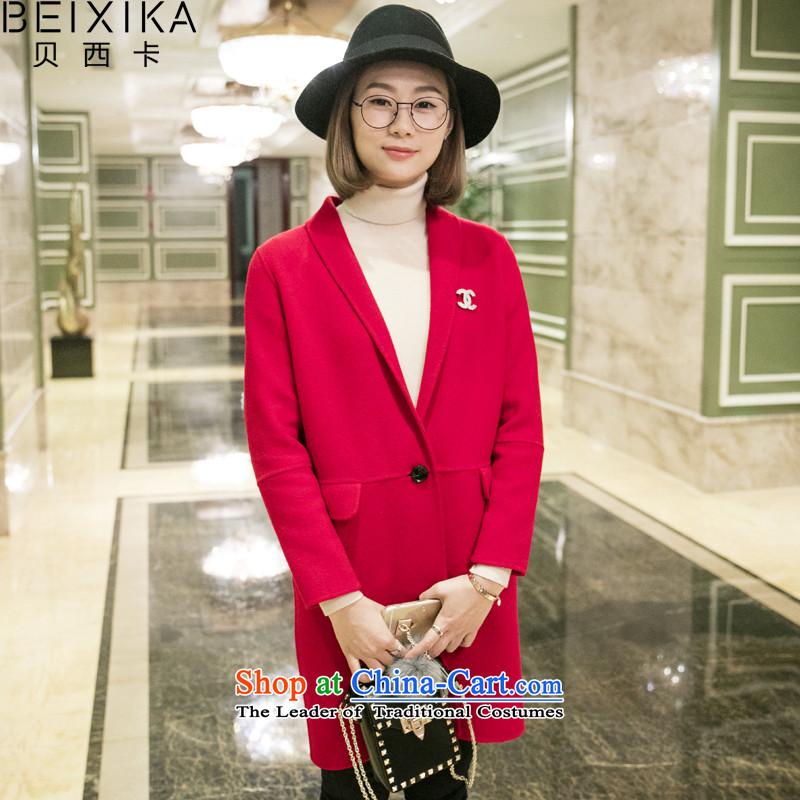 Bessey Card2015 New Pure Wool double-side jacket manually in the long hair of Sau San? Korean femaleBX1092 coatsREDM