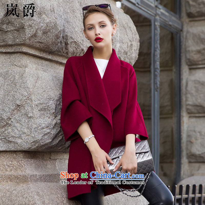 Lord included聽female autumn 2015 new sided flannel long coats jacket wool 8030 wine red聽S