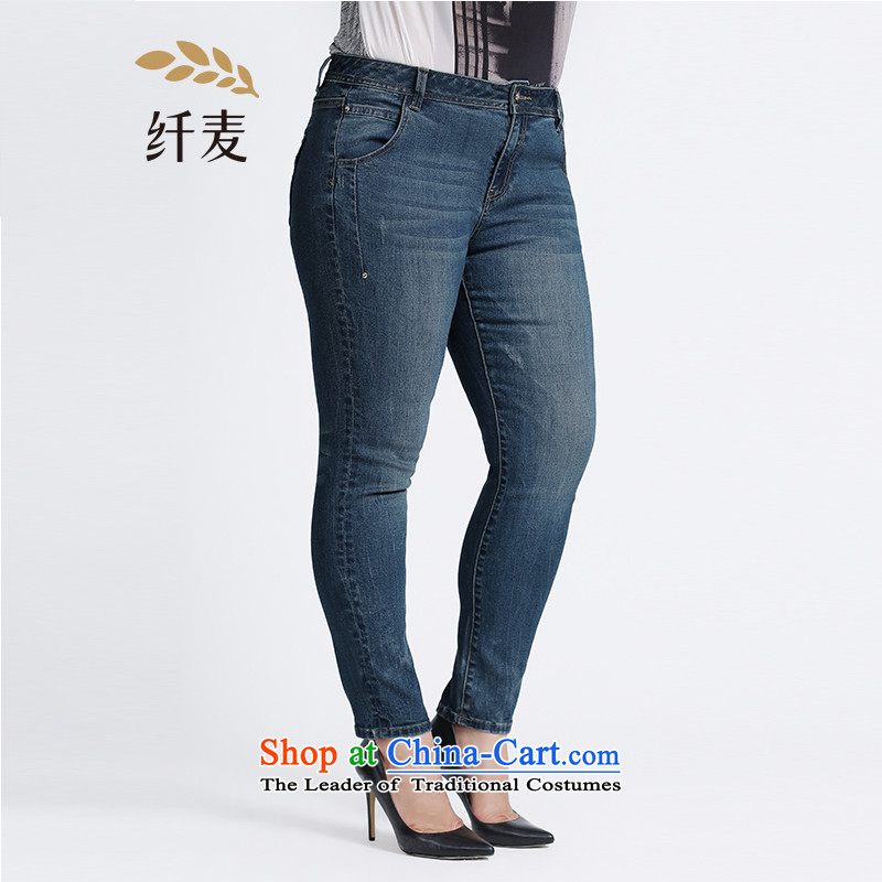 The former Yugoslavia Migdal Code women 2015 Autumn replacing the new fat mm stylish and simple solid color blue jeans�3321856牋3XL blue