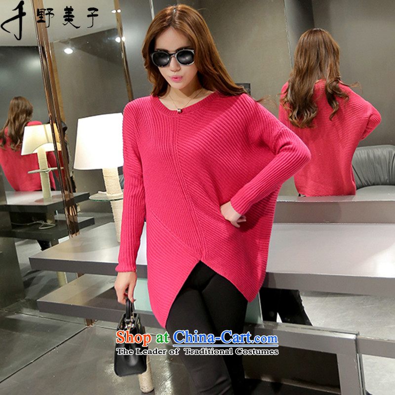 Chino Fumiko larger women Knitted Shirt girl in winter long loose V-Neck Sweater girl of bat sleeves to intensify聽3XL red聽150-165篓around 922.747