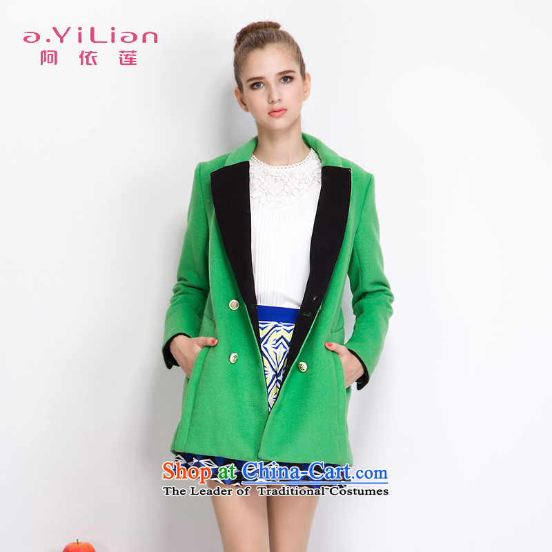 Aida 2015 Winter New Lin stylish and simple lapel knocked color in the double-long coats gross DS43397925 jacket incense? green grass and燬