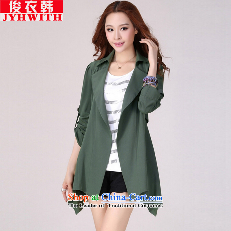 Mr James TIEN Yi Won windbreaker women larger women fall to replace Ms. increase girls' thick coat graphics thin, thick sister autumn 200catty female Chun Fat Tien large green 4XL 160 to 175 catties suitable for thick sister