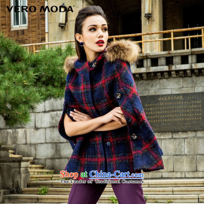 Vero moda colorful Plaid Nuclear Sub maoulen cap cloak, woolen coat |315327028 155_76A_XS Deep Blue 031