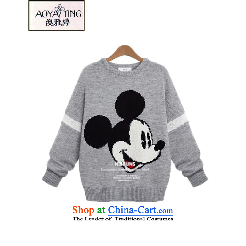 O Ya-ting to increase women's code 2015 autumn and winter new thick mm video thin cartoon Mickey pattern woolen pullover knitting sweater 5511 Excitation�L forming the gray�5-200 recommends that you Jin