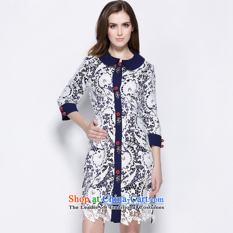 Consideration of Windsor stylish lace coat in the stitching long coats windbreaker ML15145 Blue燤