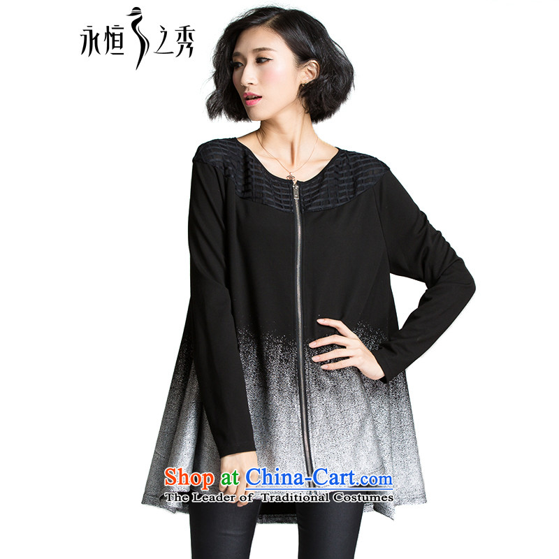 The Eternal Soo-To increase the number of female jackets autumn 2015 new products thick mm sister autumn graphics thin sweater stylish gradient temperament loose cardigan 3XL black jacket