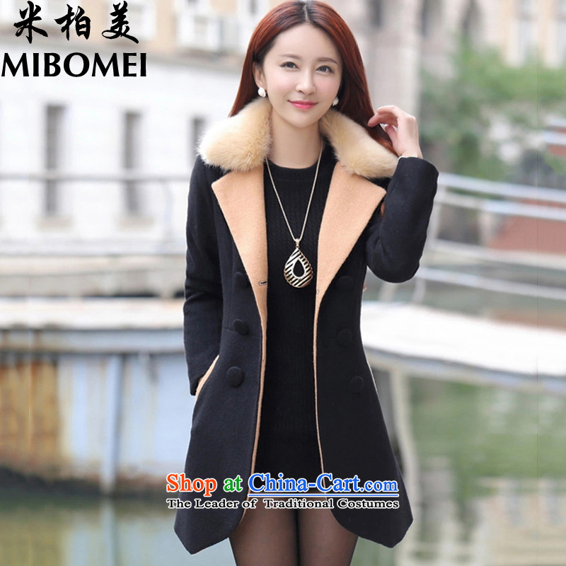 M bogey American 2015 autumn and winter female new Korean version of large code?   Small gross jacket jacket female black _cotton_ XL
