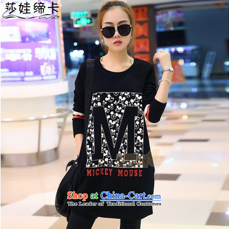 Elisabeth wa concluded card to increase women's code 200 catties of winter clothing, forming the extra thick people skirt female graphics thin, long-sleeved MM thick dresses autumn and winter Korean female black燲XXXXL 180 to 200 catties