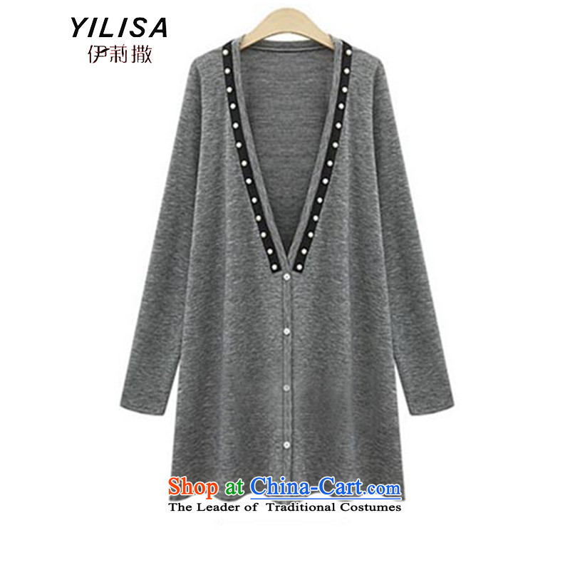Elizabeth sub-Large Women 2015 new fall inside the wear thick MM autumn and winter to intensify the stapler-ju long autumn pure cotton sweater K330 flower gray 5XL