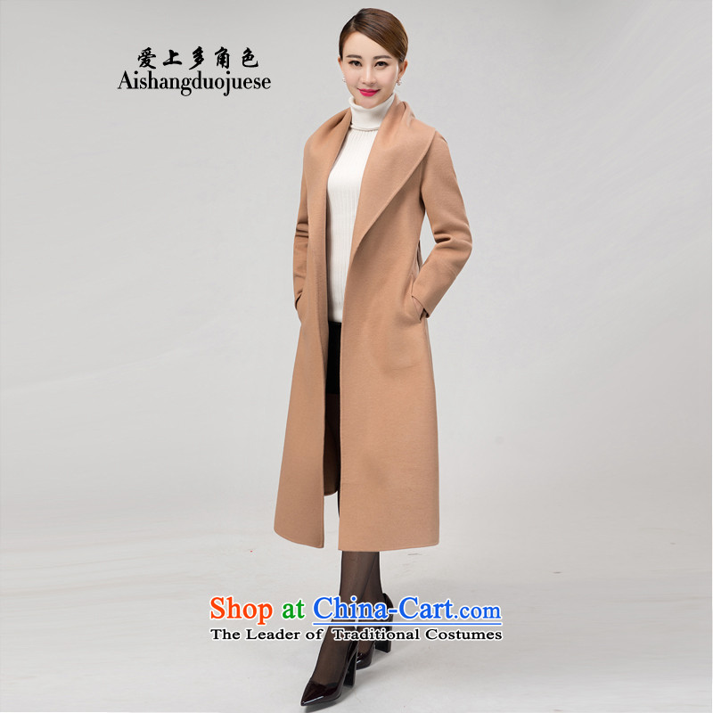 Fall in Love with the multiple roles women 2015 autumn and winter new women's high-end temperament duplex woolen coat female cashmere overcoat long jacket ASY813 Gold bricks and XL