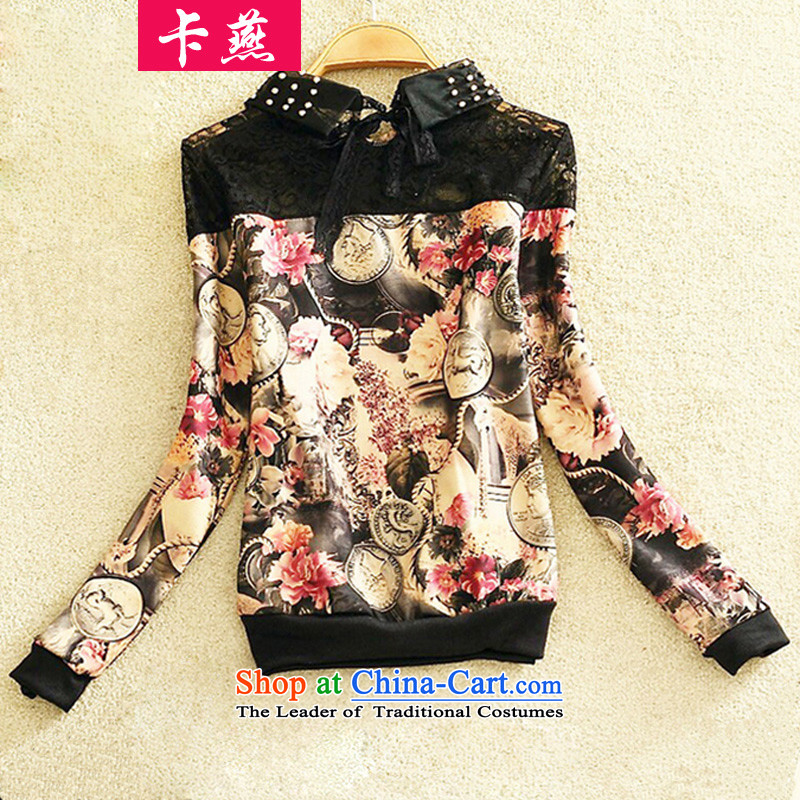 Card Yin to increase women's code load autumn 2015 mm thick thick sister new fall inside a long-sleeved T-shirt stamp lace stitching forming the Netherlands 066 picture color 3XL