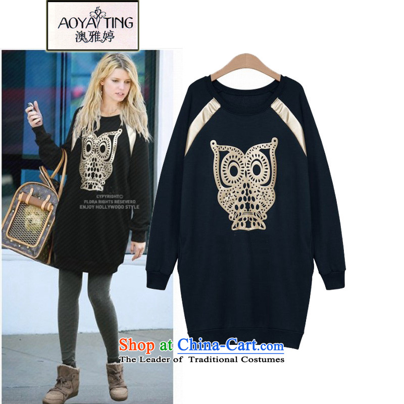 O Ya-ting to increase women's code 2015 autumn and winter dresses thick mm new liberal owl stamp forming the long-sleeved shirt female clothes video thin dark blue sweater�L�5-165 recommends that you Jin