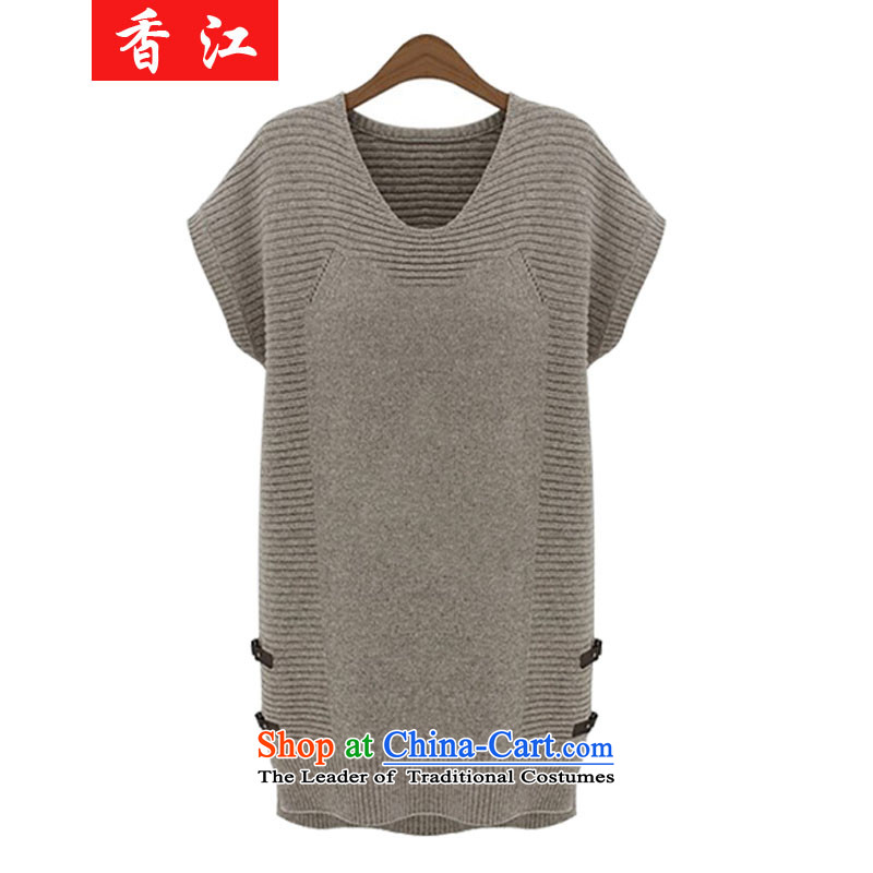 Xiang Jiang聽autumn 2015 Add fertilizer xl women in Long Neck Sweater thick mm Knitted Shirt loose video Sau San thin coat聽5978 skirt聽apricot larger 5XL