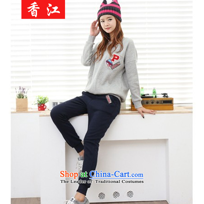 Xiang Jiang ad to increase women's code thick MM autumn replacing two kits knitting T-shirt with tether castor trousers loose video thin thick sister 200 catties聽large gray code 5XL 5981