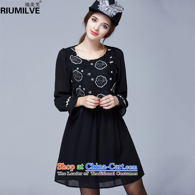 Rui Mei to�15 to increase the number of women in the autumn of New mm thick Foutune of video thin chiffon stitching long-sleeved Sau San dresses N1026�L black
