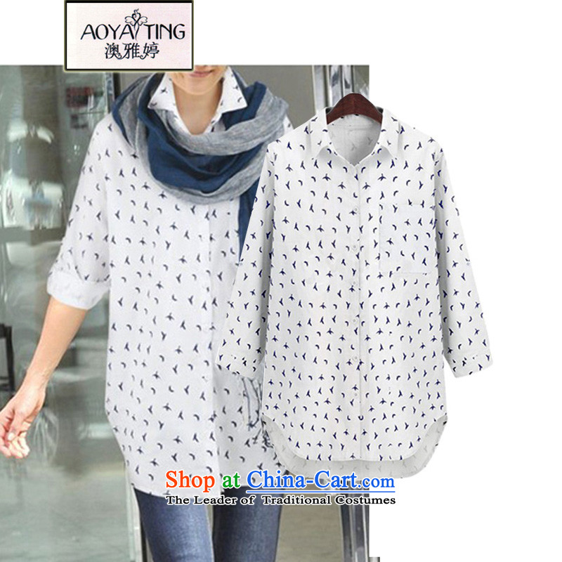 O Ya-ting European site with new shirt autumn female to female xl thick mm loose in long sleeved clothes shirt skirt wear white 3XL 5812 145-165 recommends that you Jin