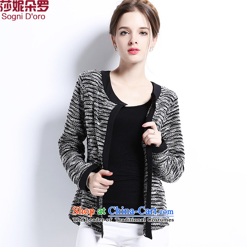 Luo Shani flower code women fall jackets thick mm new to increase long-sleeved thick sister video thin knitting cardigan small short gray 6XL 2902