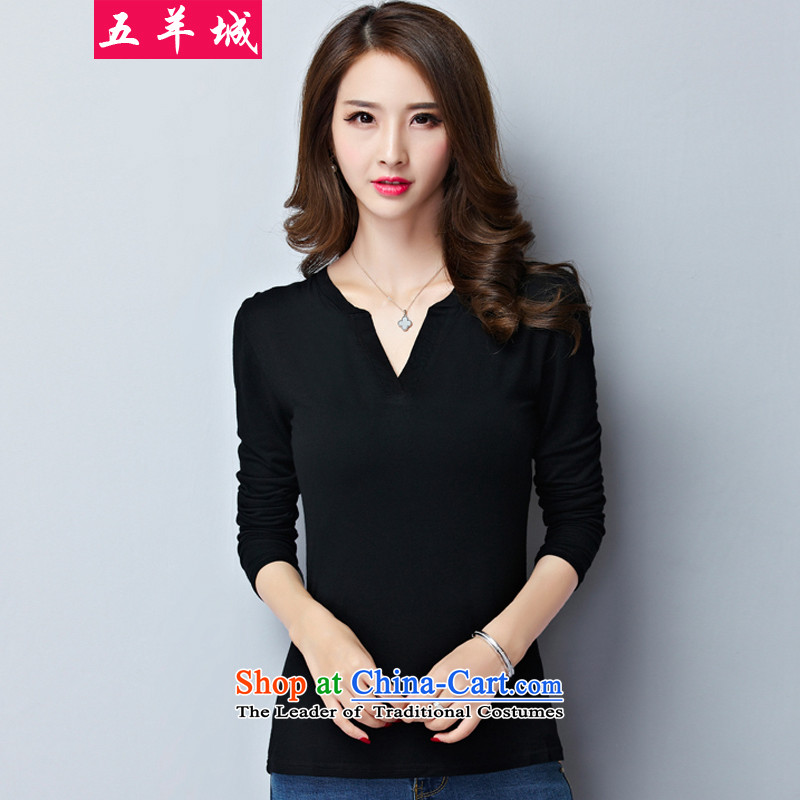 Five Rams City larger t-shirts thick girls' Graphics thin, long-sleeved thick sister load Choo Won version to xl ladies casual wear shirts 015 Black - General Assembly of the爎ecommendations of the Autumn 5XL around 190-220