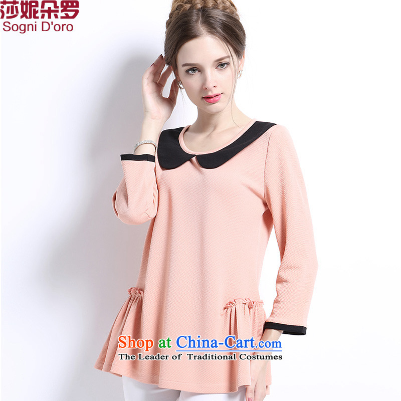 Shani flower, thick sister early autumn 2015 new products stretch knitted t-shirt shirt 9 cuff butterfly round-neck collar video thin large women 2703 bare pink�L autumn knitted shirts
