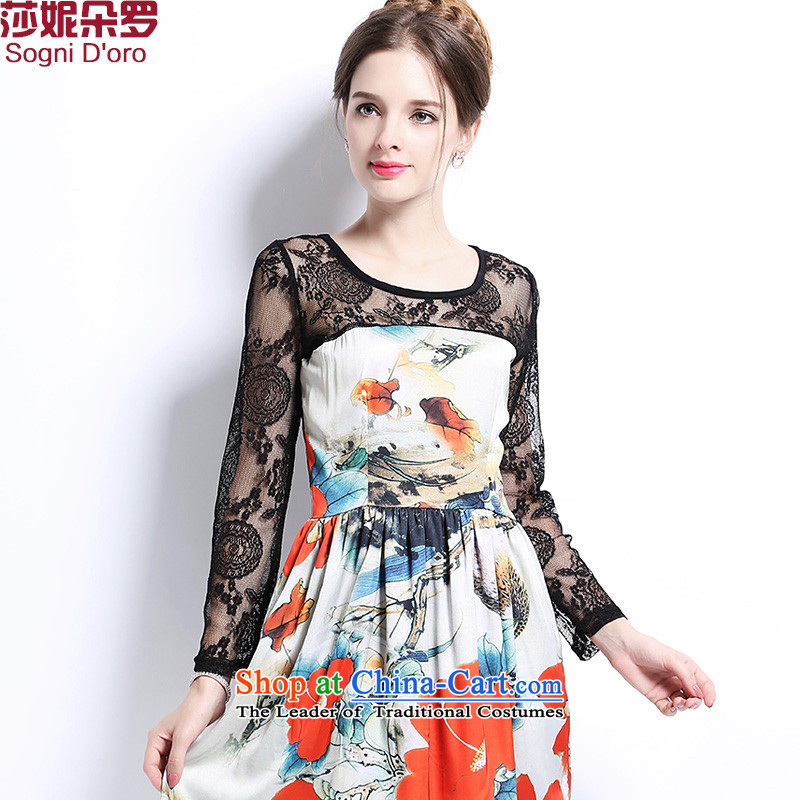 Shani flower, 2015 Autumn New_ thick mm larger female Korean burned out round-neck collar lace long-sleeved spell a series of dresses video thin 2 696爊ew products 4XL_ floral pre-sale within 3 days of the shipment_