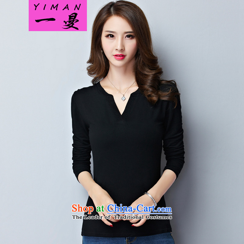 A Cayman large long-sleeved T-shirts, forming the Netherlands thick girls' Graphics thin, autumn and winter new thick sister Korean to xl ladies casual shirt 015 Black - General Assembly of the爎ecommendations of the Autumn 3XL around 922.747 140-160 char
