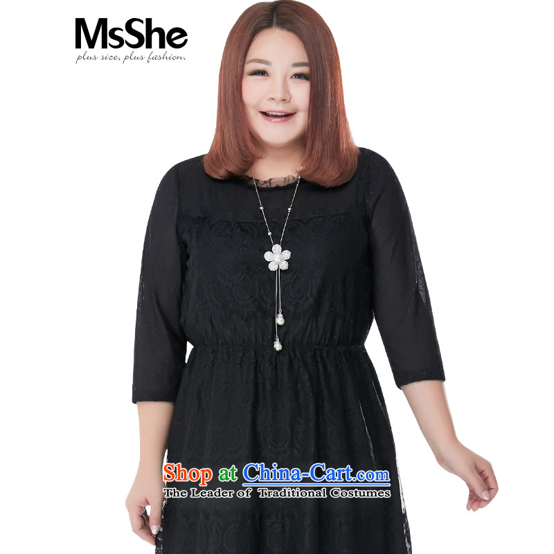 Msshe xl women 2015 new fall thick MM 7 to replace cuff lace dresses Sau San 8330 Black5XL