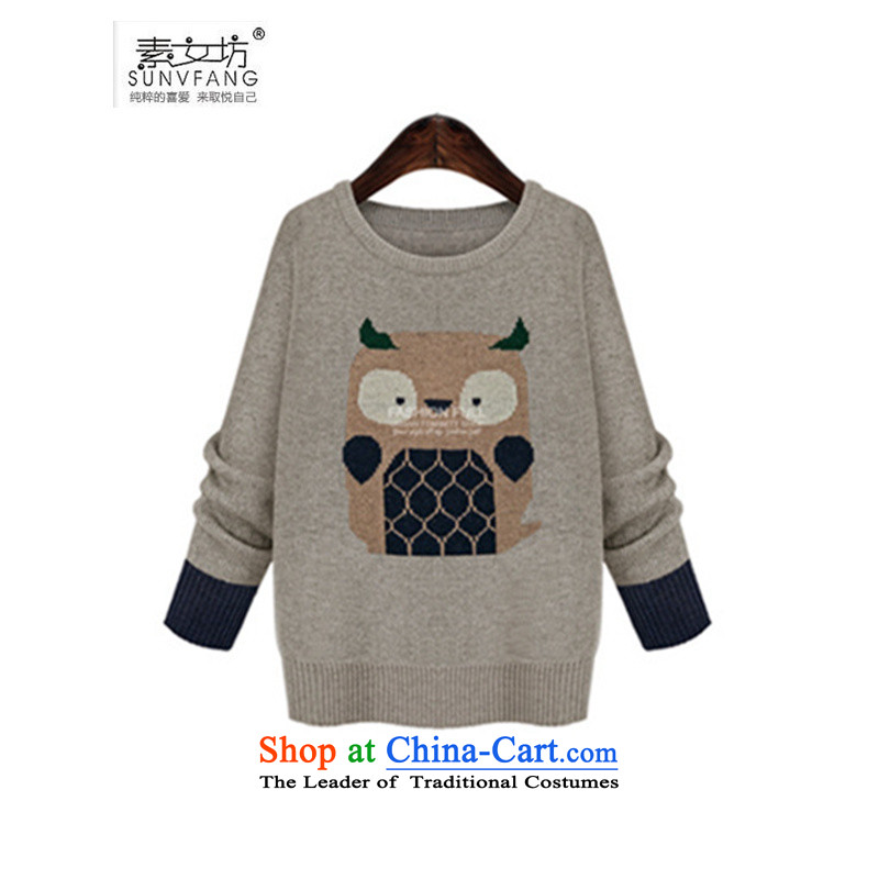 Motome square in Europe for larger women 2015 Fall/Winter Collections new owl embroidered woolen pullover long-sleeved wild knitwear B618 Light Gray 5XL 180-210 recommended weight catty