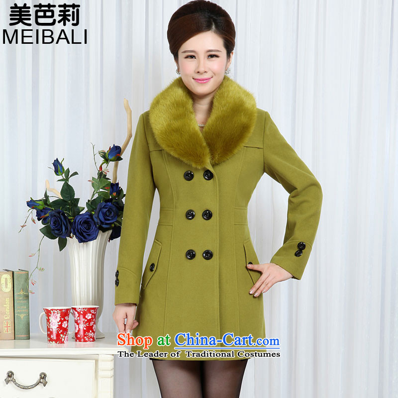 The United States and in the new 2015 Li of older women in the gross? jacket long Sau San double-wool coat 701 Green Mango?XXXXL