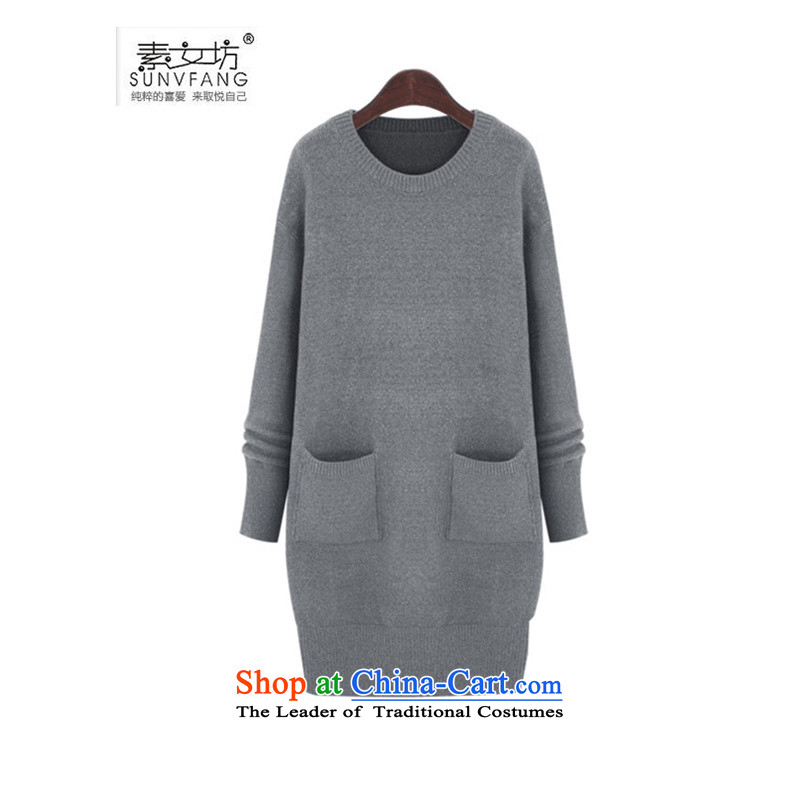 Motome Workshop 2015 autumn large new women's 200 catties thick MM Extra western style female suits long skirt sweater skirt B623 Light Gray 5XL 180-215 recommended weight catty