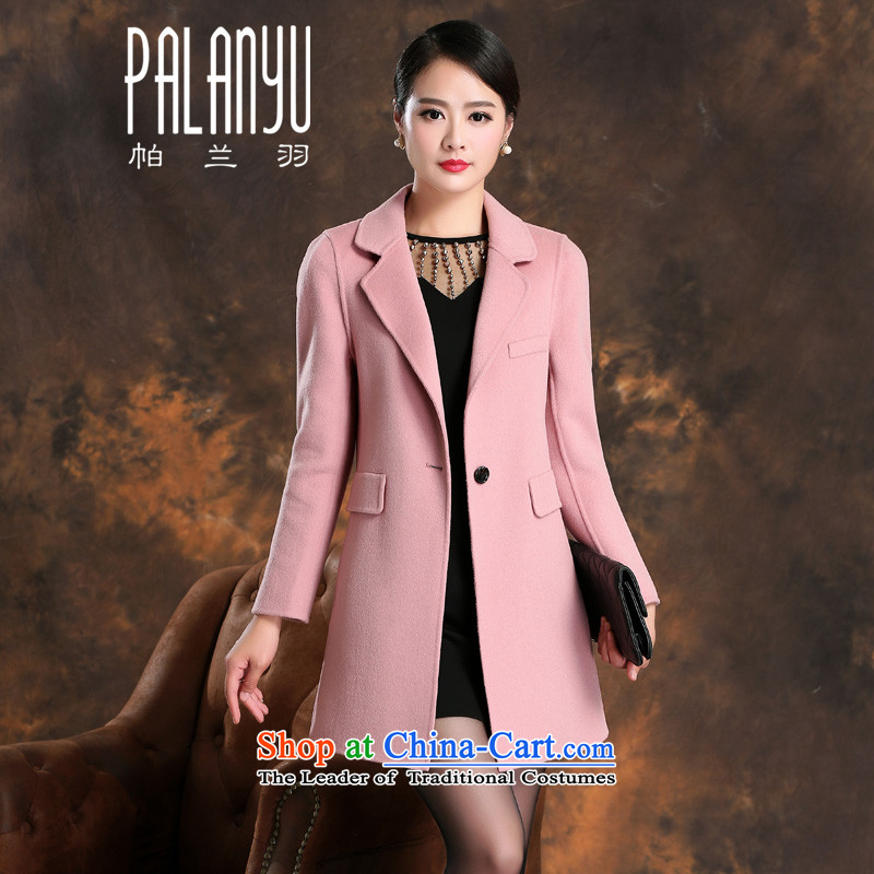 Palun Yu high-end 2015 New Fall_Winter Collections in long double-side cashmere overcoat, gross?   Graphics thin wool jacket coat female燞805? pink燤