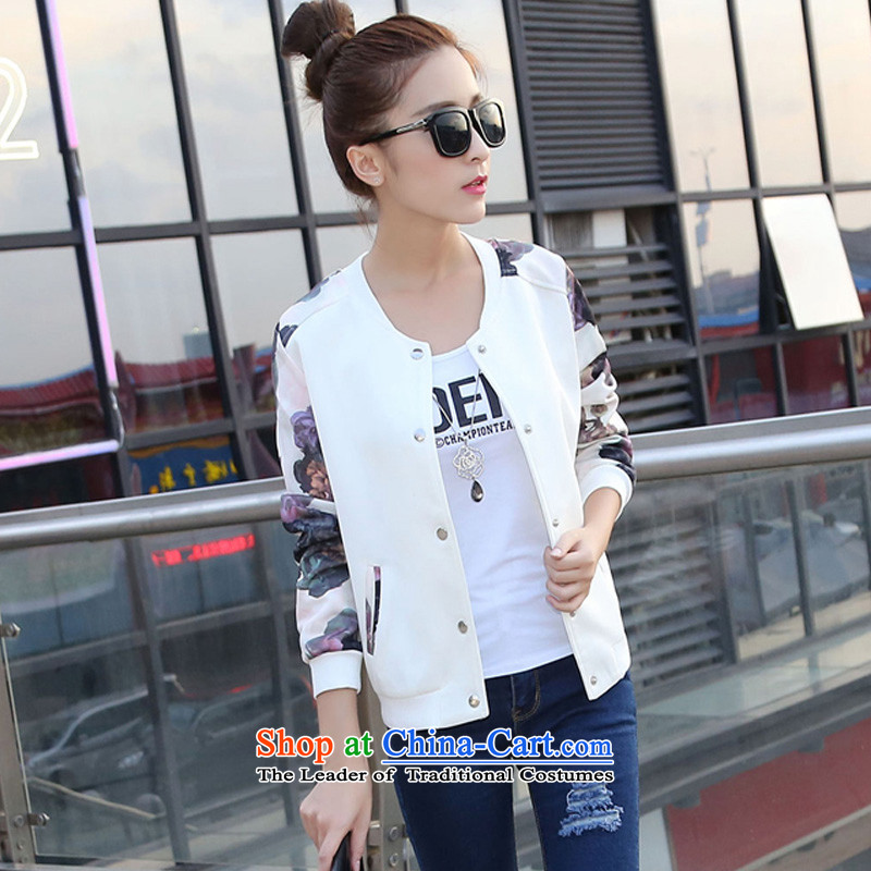 Create the 2015 autumn billion new Korean version of large numbers of ladies casual jackets video thin stamp cardigan thin_ jacket whiteL