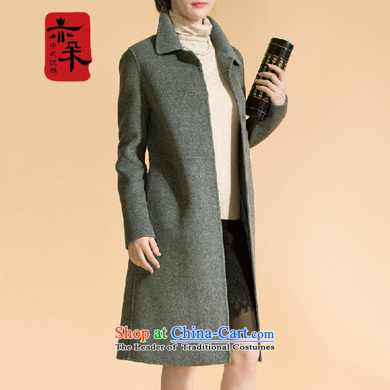 2015 Autumn and winter flower also new middle-aged temperament double-side elegant gross girls jacket? long wool coat? a jacket Reed Sau San within seven days of the Shipment GrayL