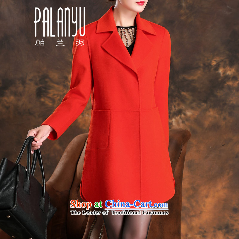 Palun Yu high-end double-side cashmere overcoat female new 2015 Fall_Winter Collections in long wool coat female gross??   jacket H808 orange M