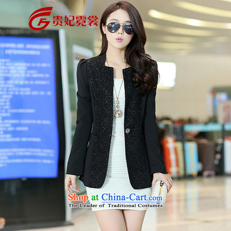 Tysan 2015 Autumn Gwi-load new extra small business suit Female jacket 200 catties thick mm thin in the long graphics Sau San ultra to xl black suit 4XL  recommendations 165-185 catty